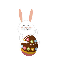 Rabbit easter with decorated egg in the hands vector