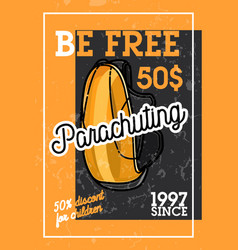 color vintage parachuting banner vector image