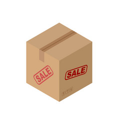 Sale cardboard box isolated discount pasteboard vector