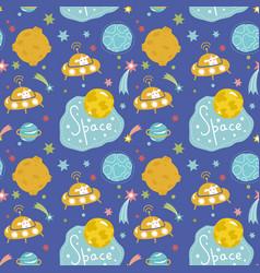 Deep space cartoon seamless pattern vector