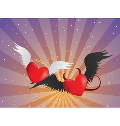 Good and evil hearts background vector image