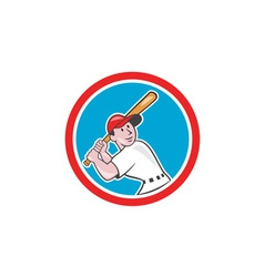 Baseball player batting looking up circle cartoon vector