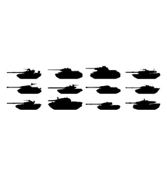 Tanks silhouettes set vector