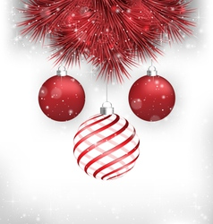 Christmas balls on pine on grayscale vector