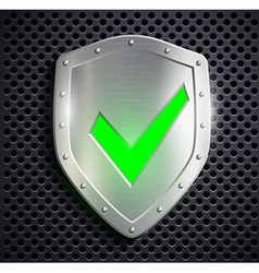 Metal shield with green tick vector