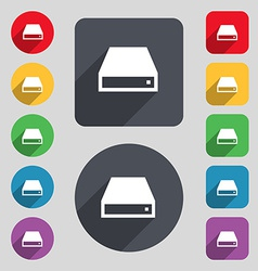 Cd-rom icon sign a set of 12 colored buttons and a vector