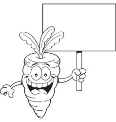 Cartoon carrot holding a sign vector