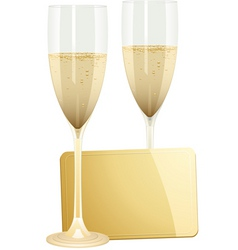 Champagne flutes and gold gift tag on a white back vector