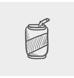 Soda can with straw sketch icon vector