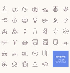 Transportation outline icons for web and mobile ap vector
