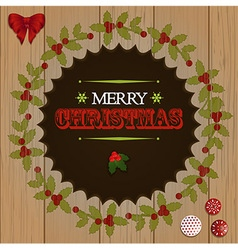 Christmas wooden cut out border vector image