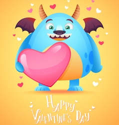 Cute cartoon monster in love holding a pink heart vector