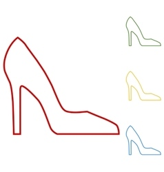 Woman shoe set of line icons vector