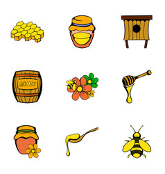 bee icons set cartoon style vector image