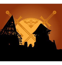 castle ruins and fantasy swords vector image vector image