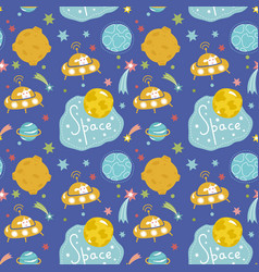 Deep space cartoon seamless pattern vector