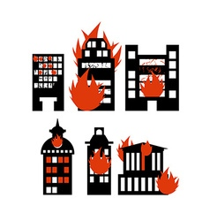 Fire building set of icons lit city buildings vector