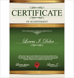 Green Certificate template vector image
