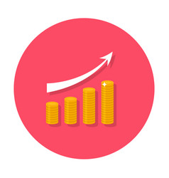 Growing chart flat icon vector