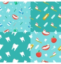 Healthy teeth dental seamless pattern set vector