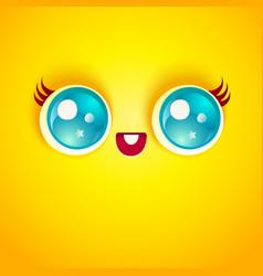 kawaii face with eyes vector image vector image