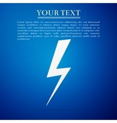 Lightning bolt flat icon on blue background vector