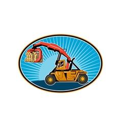 Logging forklift hoist truck with sunburst vector image