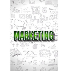 Marketing concept with doodle design style finding vector