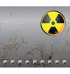 Metal background with radiation sign vector