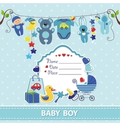 New born baby boy card shower invitation template vector