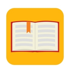 Opened book with bookmark flat icon vector
