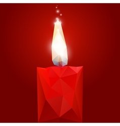 Polygonal red burning candle vector image vector image