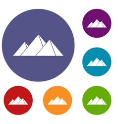 Pyramids in giza icons set vector