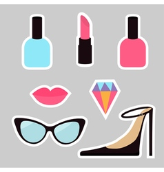 Quirky cartoon sticker patch badge set woman vector