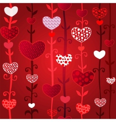 Red Love Valentins Day Seamless Pattern vector image