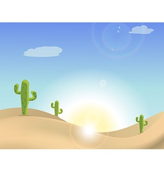 Scene of a cactus in the desert vector