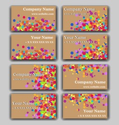 set of business card with irregular circles vector image vector image