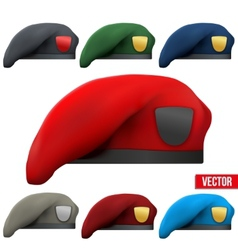 Set of Military colorful Berets Army Special vector image vector image