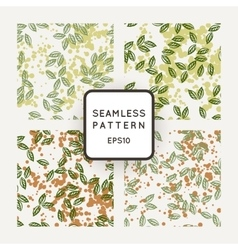 Set of seamless patterns with leaves flying vector image