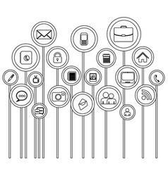 Silhouette tech icons online vector