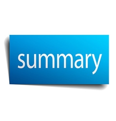 Summary blue paper sign on white background vector