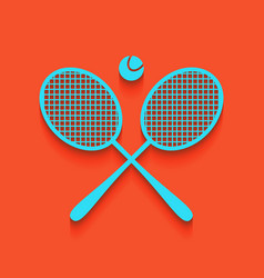 Two tennis racket with ball sign whitish vector