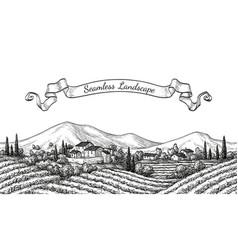 vineyard seamless landscape vector image vector image