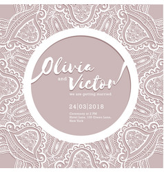 Wedding invitation card laser cut pattern vector
