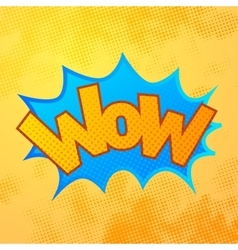 WOW comics sound effect with halftone pattern on vector image