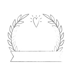 Wreath of leaves with heart icon vector