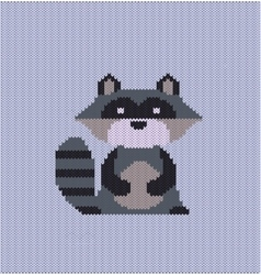 Raccoon knitted vector image