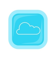 Cloud storage web button isolated flat style vector