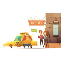 Hostel design concept with managers welcoming vector