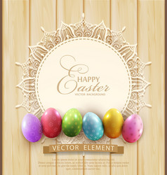 Background with a circle of lace and easter eggs vector
